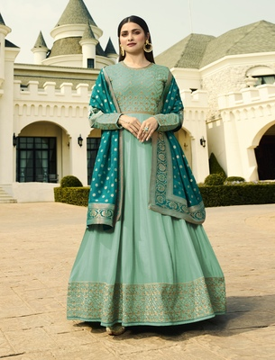 Light-turquoise embroidered silk blend salwar