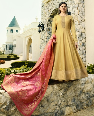 Yellow Embroidered Silk Blend Salwar