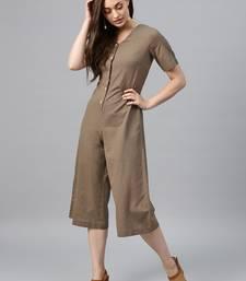 Brown Front Button Culottes Jumpsuit