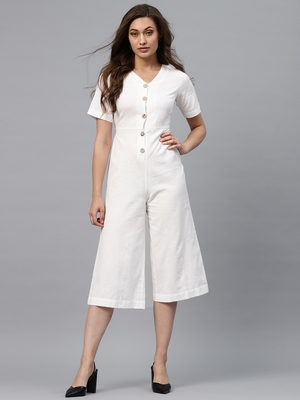 White Front Button Culottes Jumpsuit