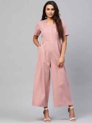 Onion Pink Pleated Palazzo Jumpsuit
