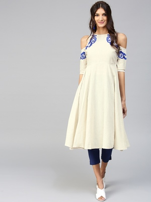 Cold Shoulder Embroidered Off-White Anarkali