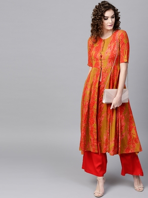 Mustard & Red Printed Front Open Anarkali