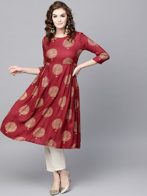 Maroon Foil Printed Gathered Waist Kurta