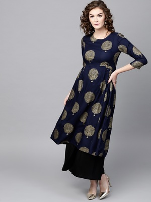 Navy Foil Printed Gathered Waist Kurta