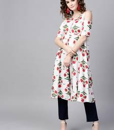 Buy Off White floral print Cold Shoulder Front Open Kurta