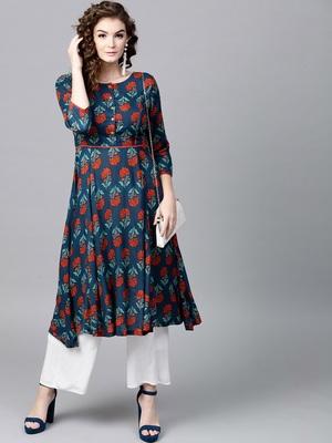 Blue & Red floral print Anarkali