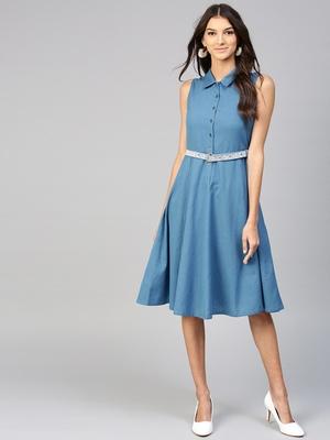 Blue Embroidered Belt Ethnic Midi Dress