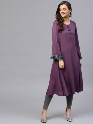 Purple Fringed Sleeves Kurta