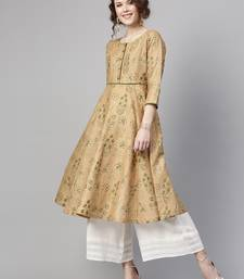 Golden Beige floral print Piping Anarkali