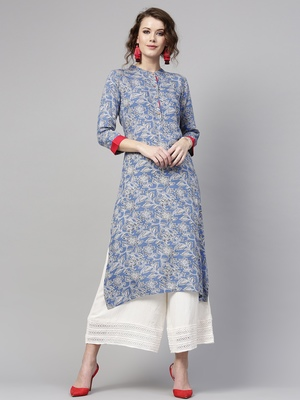 Blue floral print Straight Kurta