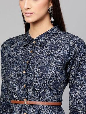 Indigo Geo Print Belted Shirt Dress