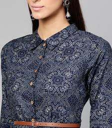 Indigo Geo Print Belted Shirt Dress