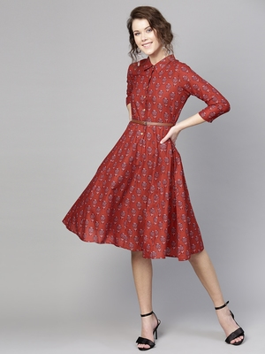 Red floral_print Belted Shirt Dress