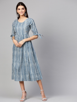 Indigo Stripe Side Placket Dress