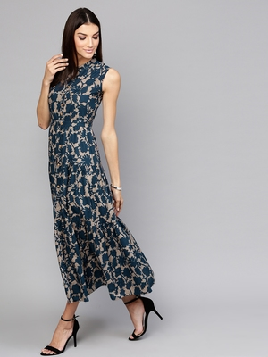 Grey Indigo floral_print Tiered Front Button Maxi