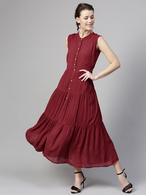 Maroon Tiered Front Button Crinkled Maxi