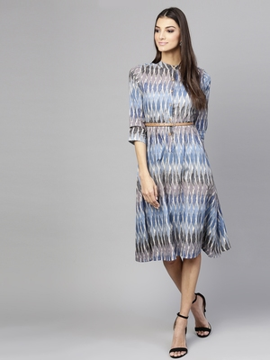 Blue Ikat Belted Dress