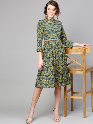 Navy Yellow floral_print Belted Dress