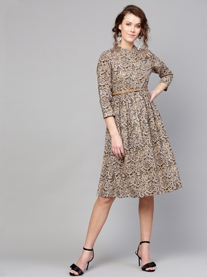 Beige Paisley Belted Dress