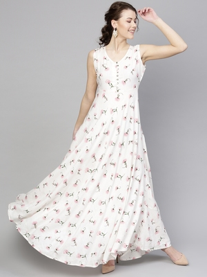 White floral_print Sleeveless Flared Maxi