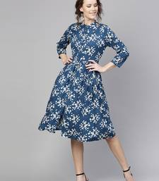 Navy Ditsy floral_print Front Placket Dress