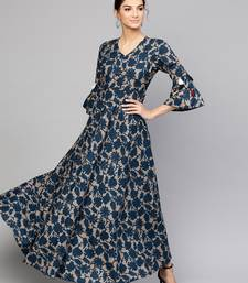 Grey Indigo floral_print Tiered Sleeves Maxi