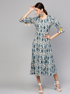 Indigo Paisley Tie-Up Sleeve Dress