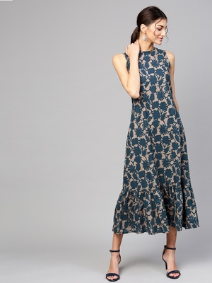 Grey Indigo floral_print Tiered Sleeveless Maxi