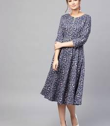 Navy floral_print Dress