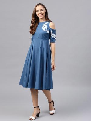 Cold Shoulder Embroidered Blue Dress