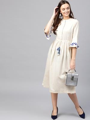 Off White Drawstring Emb Bell Sleeves Dress