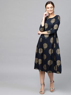 Navy Foil Printed Gathered Waist Dress