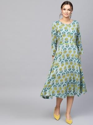 Blue & Yellow floral_print Dress
