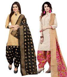 Multicolor printed cotton unstitched salwar with dupatta