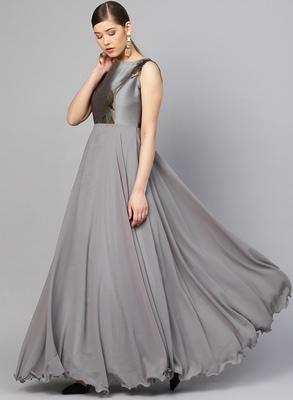 Grey Georgette Solid Maxi Dress