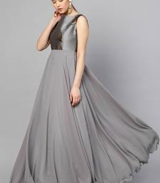 Grey Georgette Solid Maxi Dress