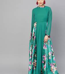 Green Georgette Printed Maxi Dress