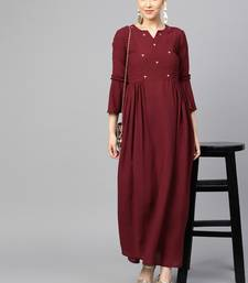 Maroon Heavy Georgette Solid Maxi Dress