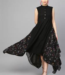 Black Heavy Georgette Printed Maxi Dress