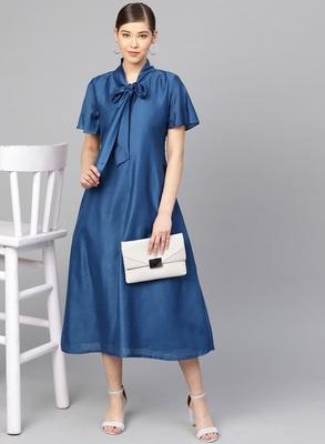 Blue Muslin Silk Solid Maxi Dress