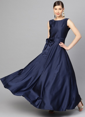 Navy Blue Tafeta Solid Gown