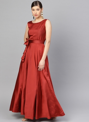 Maroon Tafeta Solid Gown