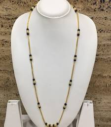 Gold Plated White Pearls Style Pendant Mangalsutra Black Mani Beads Single Line Layer Long Chain