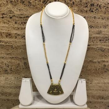 Oxidized Gold Plated Lakshmi Pendant Mangalsutra Black Beads Double Line Layer Long Chain