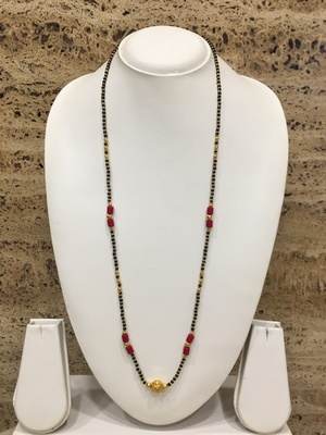 Gold Plated Round Mani Pendant Mangalsutra Golden Red Black Beads Single Line Layer Long Chain