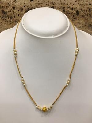 Fashion Antique Round Mani Pendant Mangalsutra White Pearls Beads Single Line Layer Short Chain