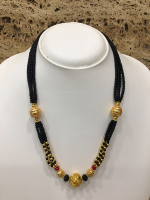 Golden Mani Pendant Mangalsutra Traditional Red Black Beads 4 Line Multi-Layer Short Kolhapuri Necklace