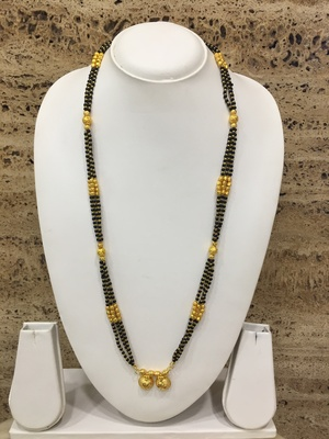 Golden Alloy 2 Vati Tanmaniya Pendant Mangalsutra Black Mani Beads 3 Triple Line Layer Long Chain