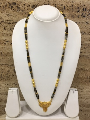 Golden Alloy Pendant with Latkan Mangalsutra Black Mani Beads 3 Triple Line Layer Long Chain